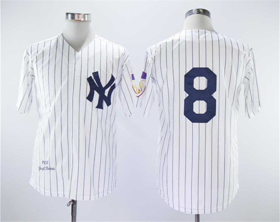 Yankees 8 Yogi Berra White 1951 Throwback Jersey