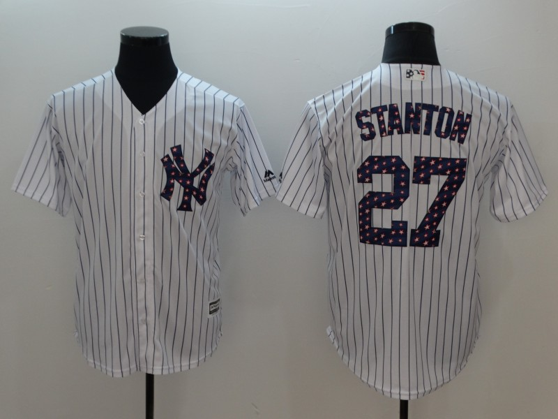 Yankees 27 Giancarlo Stanton White 2018 Stars & Stripes Cool Base Jersey