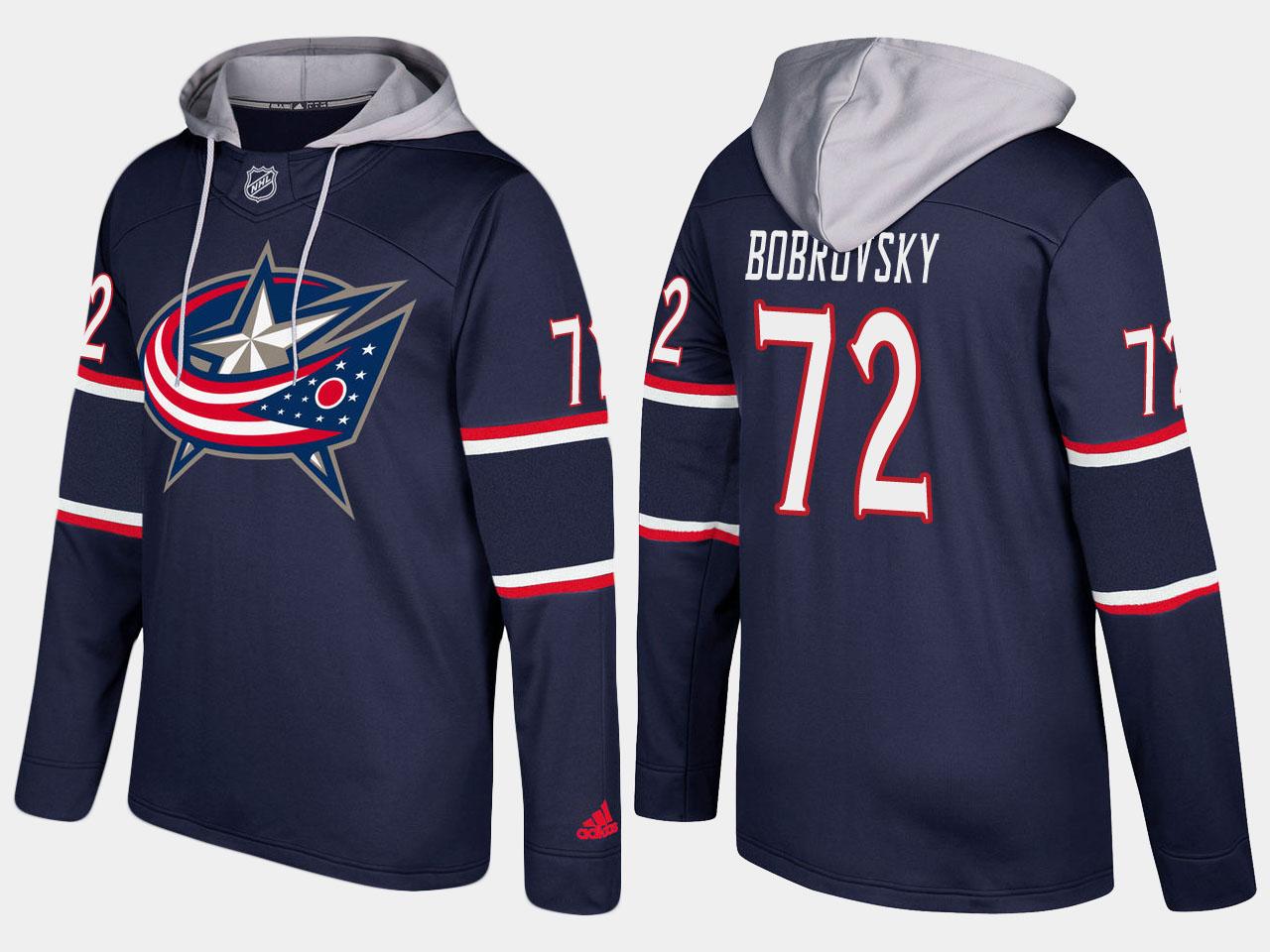Nike Blue Jackets 72 Sergei Bobrovsky Name And Number Navy Hoodie