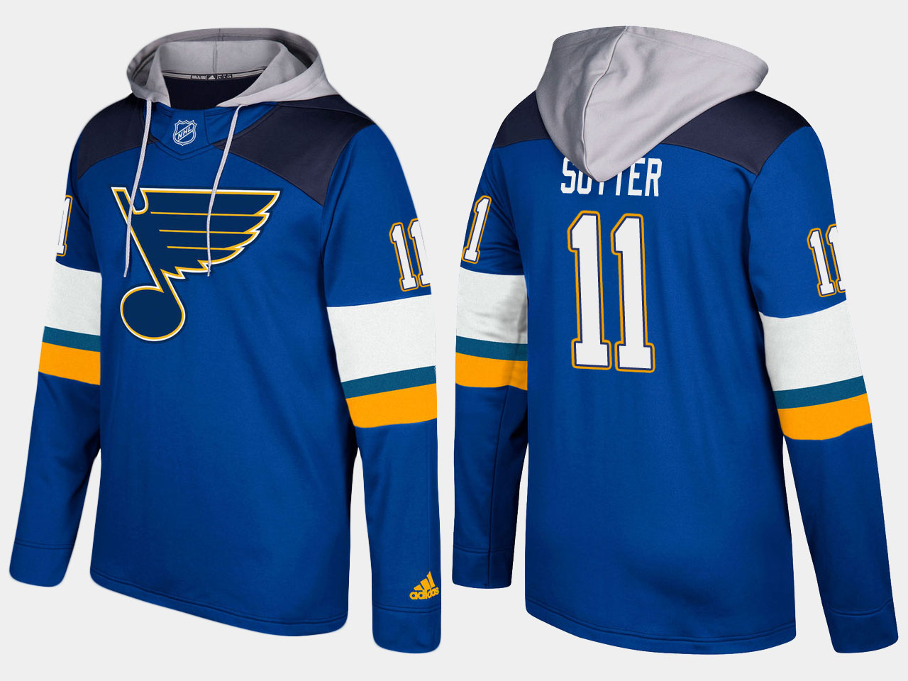 Nike Blues 11 Brian Sutter Retired Blue Name And Number Hoodie
