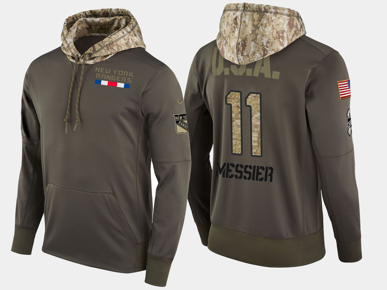 Nike Rangers 11 Mark Messier Retired Olive Salute To Service Pullover Hoodie