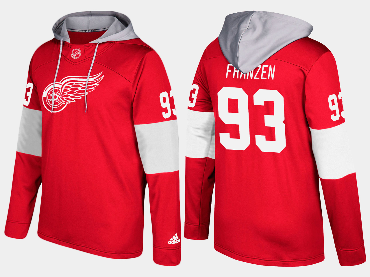 Nike Red Wings 93 Johan Franzen Name And Number Red Hoodie