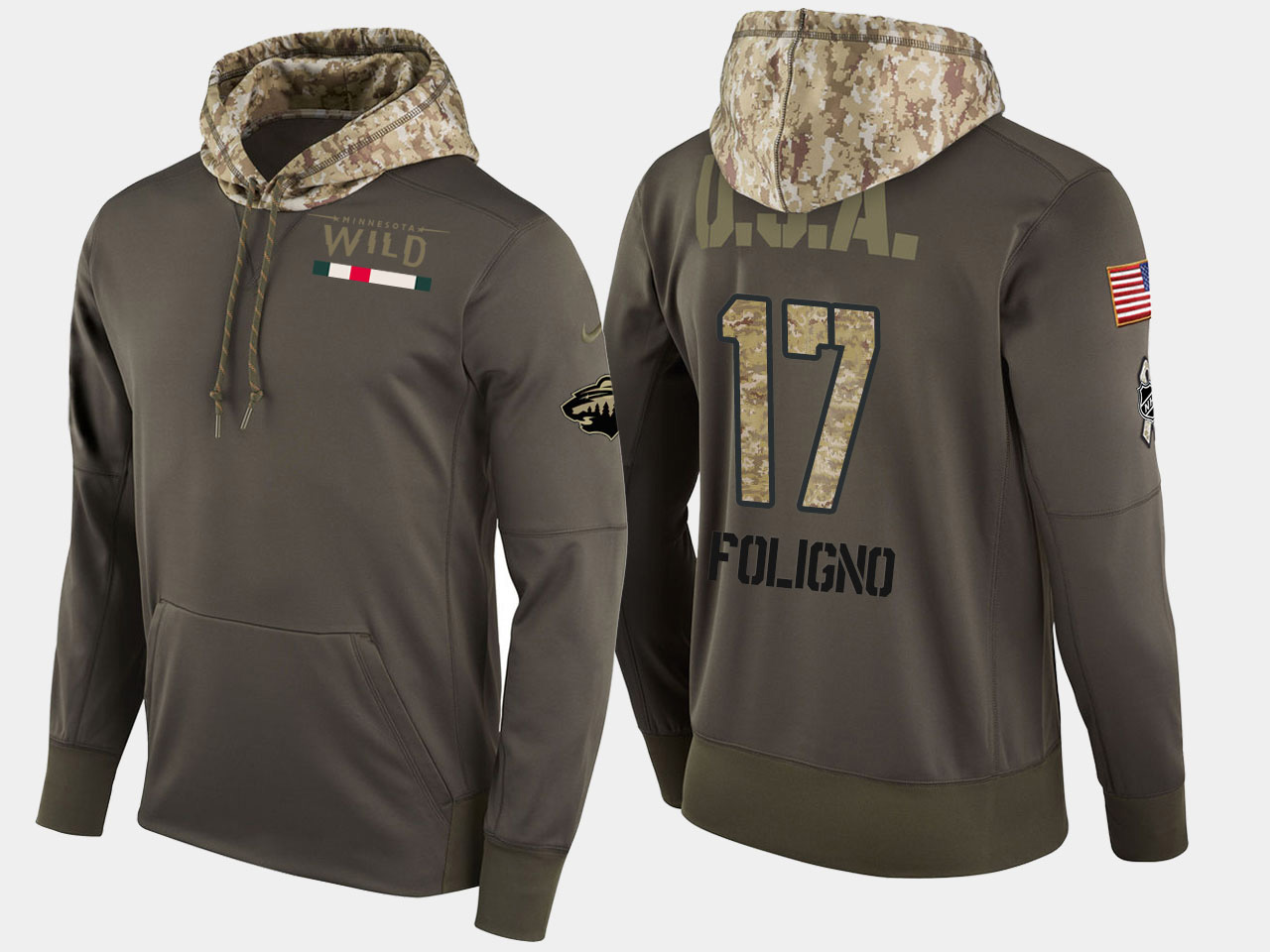 Nike Wild 17 Marcus Foligno Olive Salute To Service Pullover Hoodie