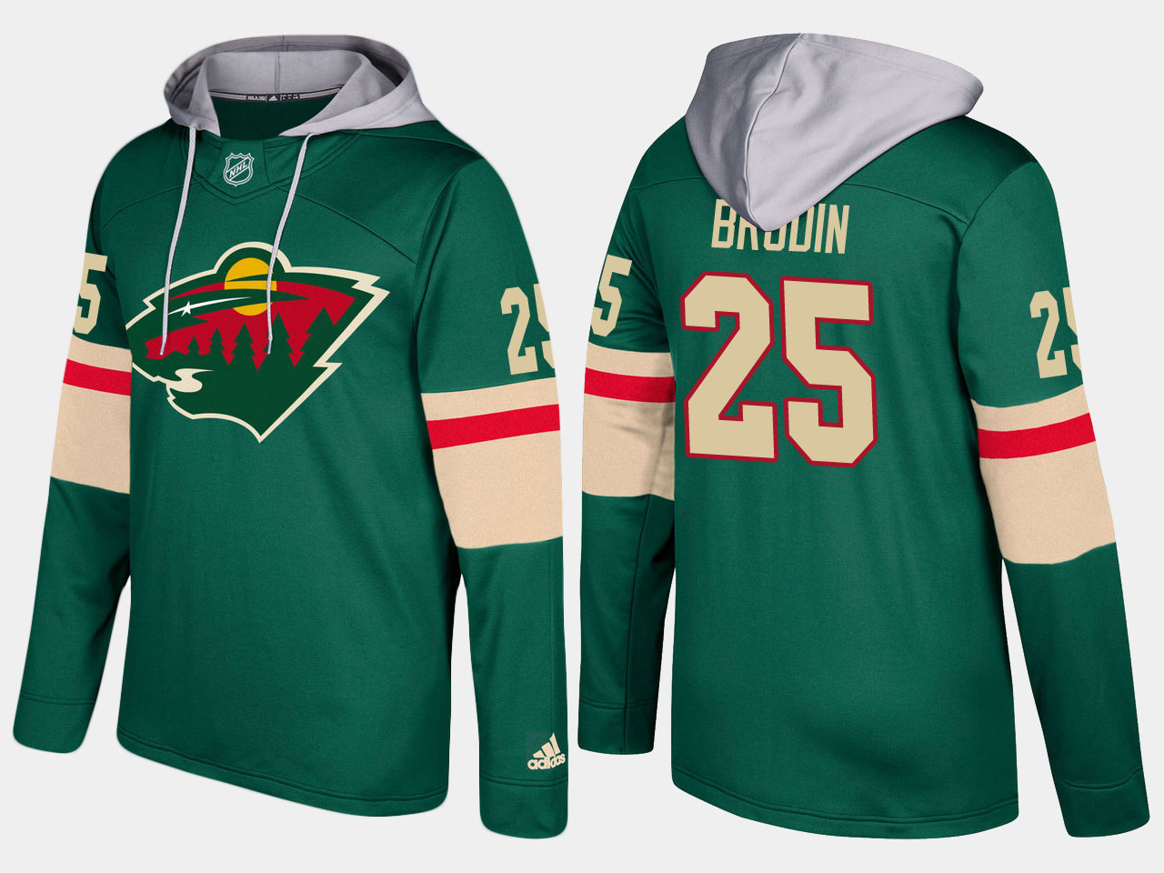 Nike Wild 25 Jonas Brodin Name And Number Green Hoodie
