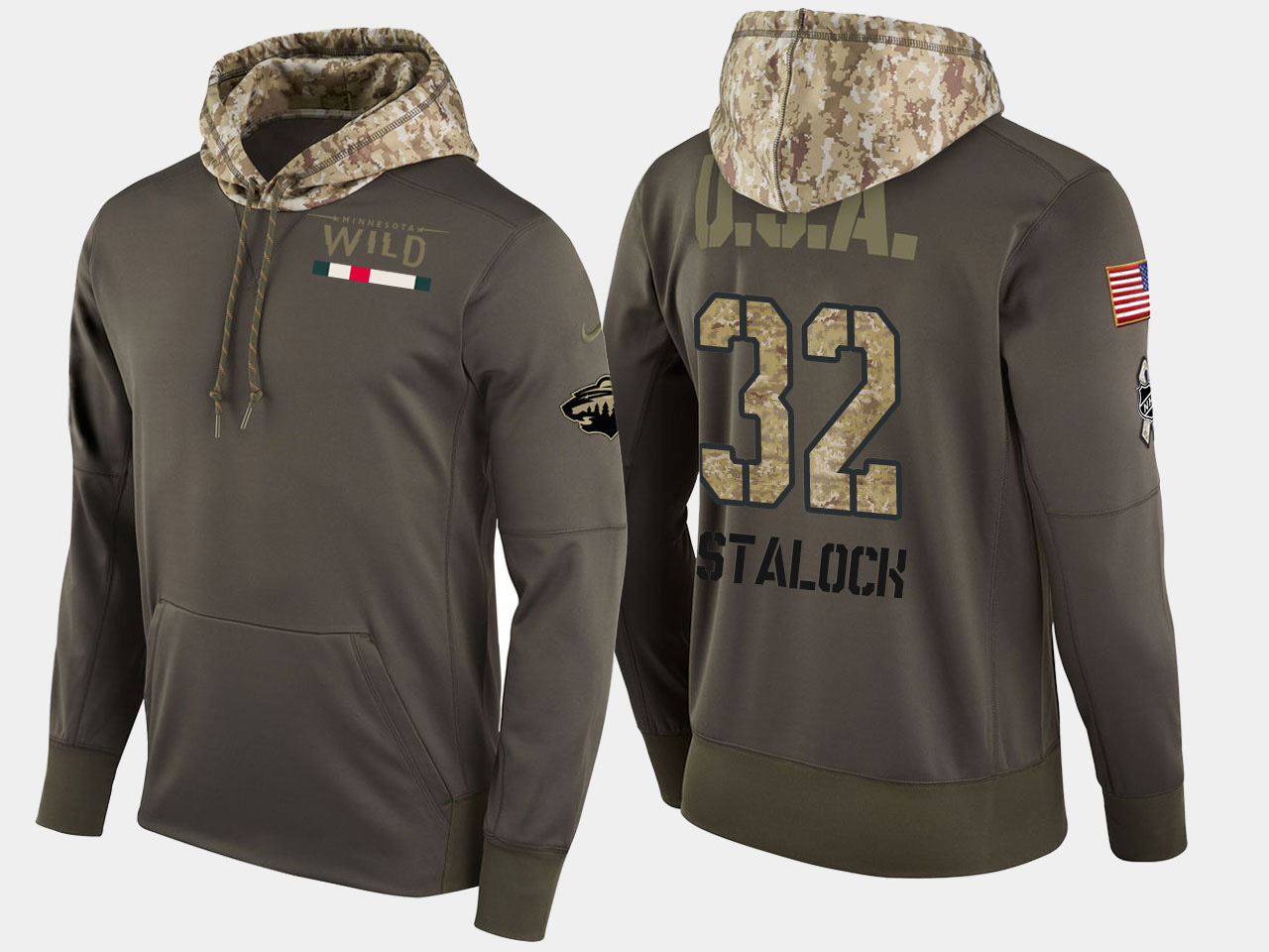 Nike Wild 32 Alex Stalock Olive Salute To Service Pullover Hoodie