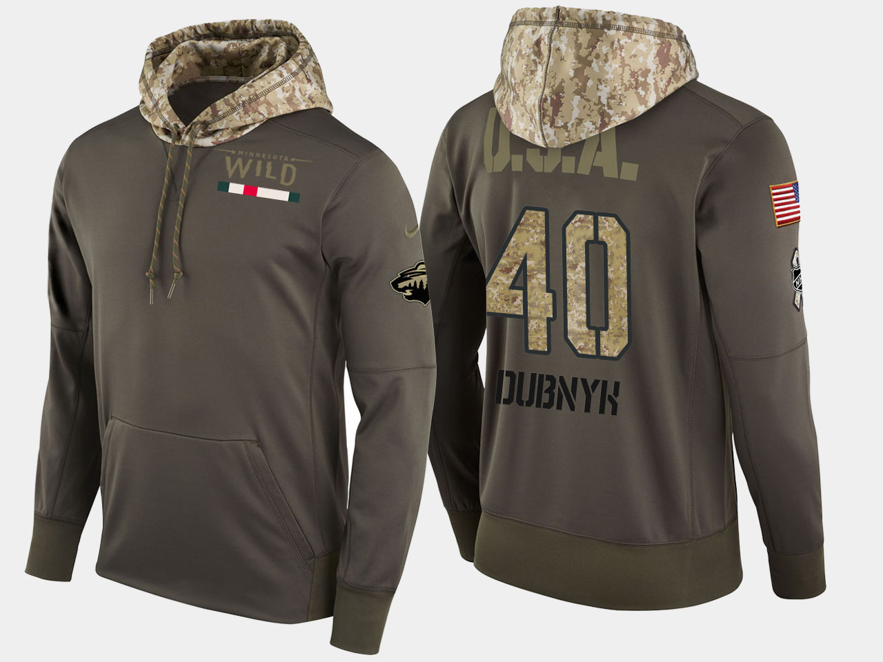 Nike Wild 40 Devan Dubnyk Olive Salute To Service Pullover Hoodie