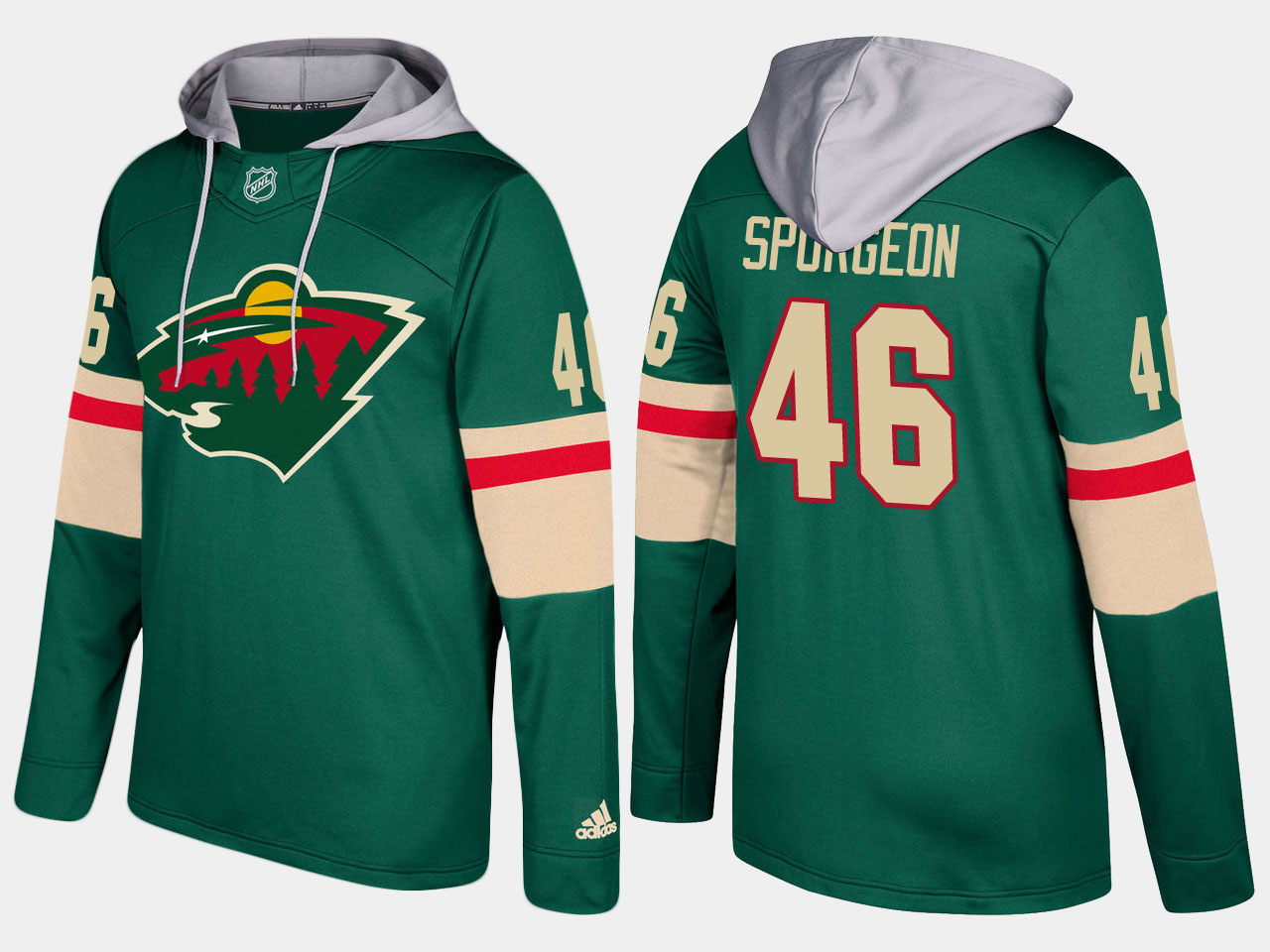 Nike Wild 46 Jared Spurgeon Name And Number Green Hoodie