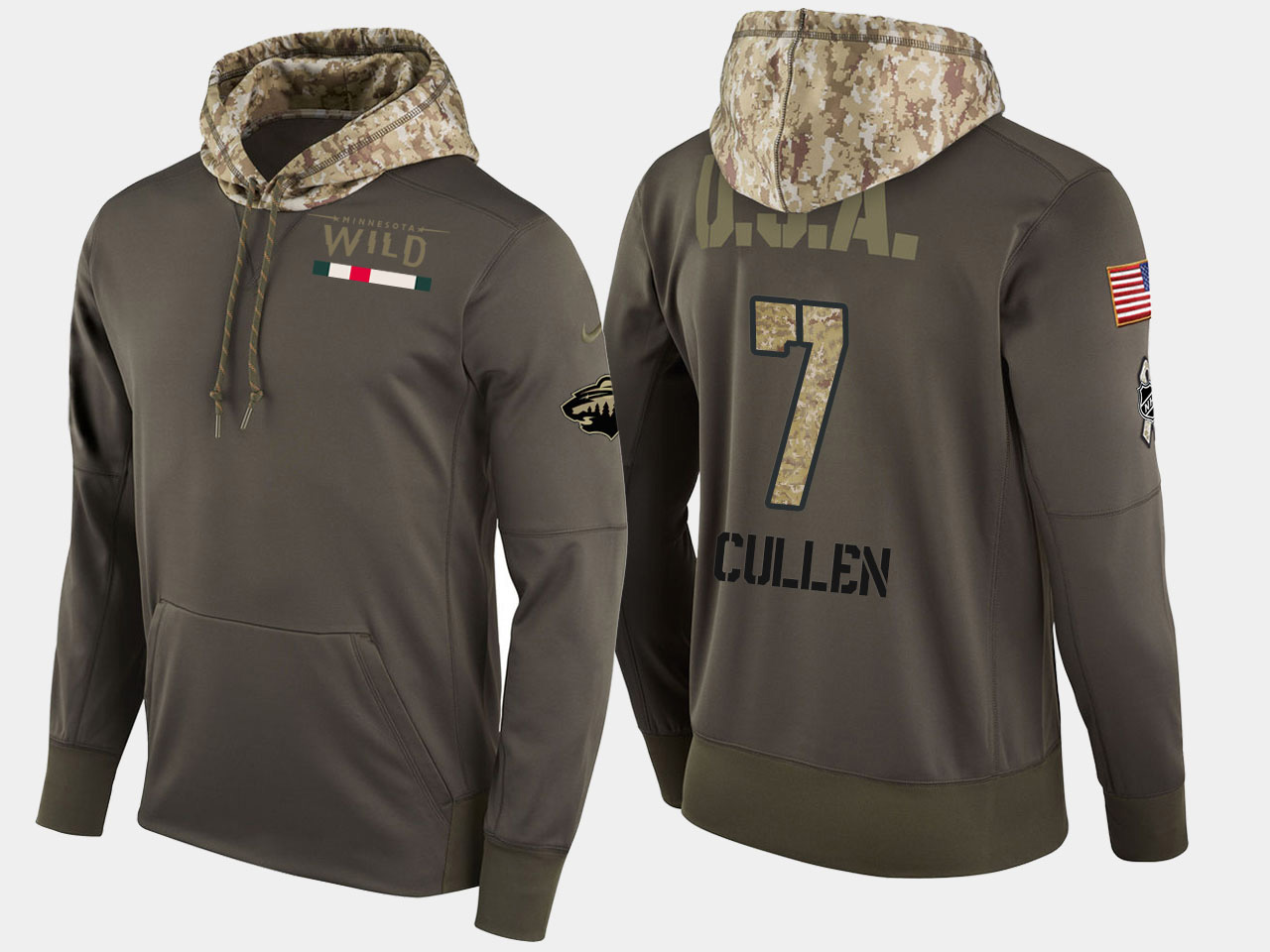 Nike Wild 7 Matt Cullen Olive Salute To Service Pullover Hoodie