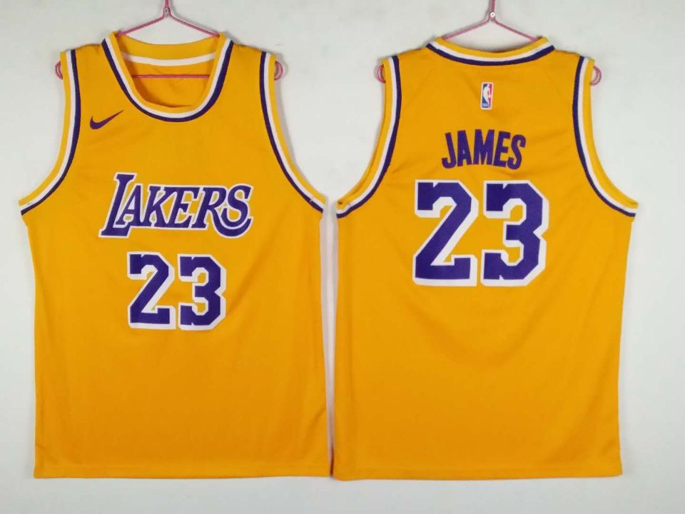 Lakers 23 Lebron James Yellow Nike Swingman Jersey