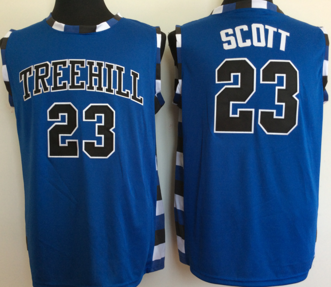 One Tree Hill Ravens 23 Nathan Scott Blue College Basketball Jersey