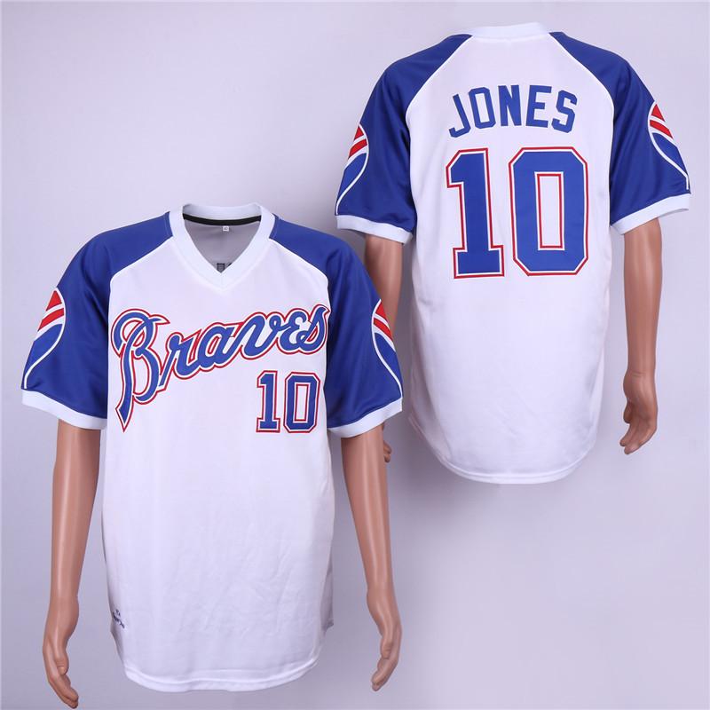 Braves 10 Chipper Jones White Throwback Jersey