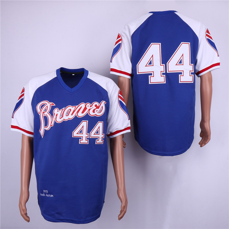 Braves 44 Hank Aaron Blue 1973 Throwback Jersey