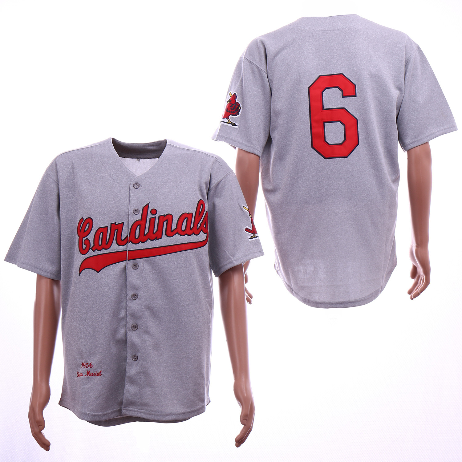 Cardinals 6 Stan Musial Gray 1956 Cooperstown Collection Jersey