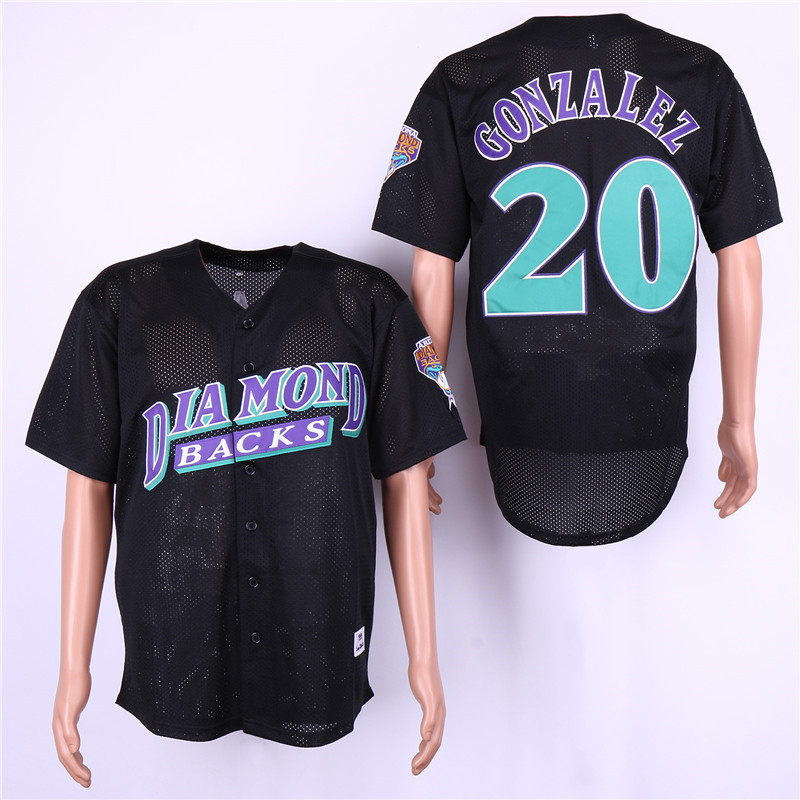 Diamondbacks 20 Luis Gonzalez Black Mesh BP Jersey