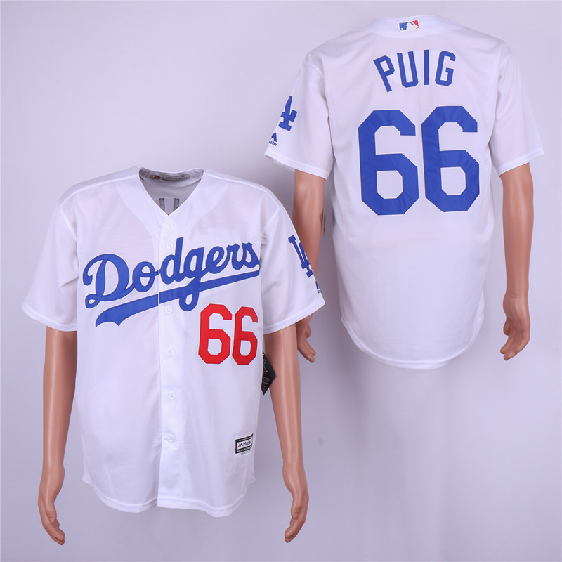 Dodgers 66 Yasiel Puig White Cool Base Jersey