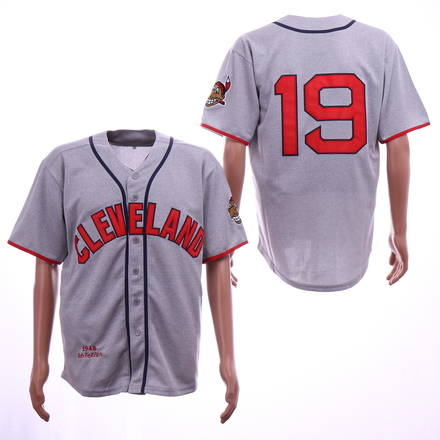 Indians 19 Bob Feller Gray 1948 Throwback Jersey