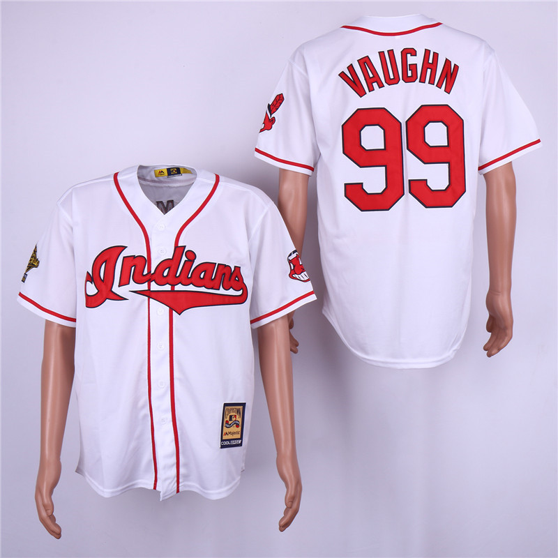 Indians 99 Ricky Vaughn White Cooperstown Collection Jersey