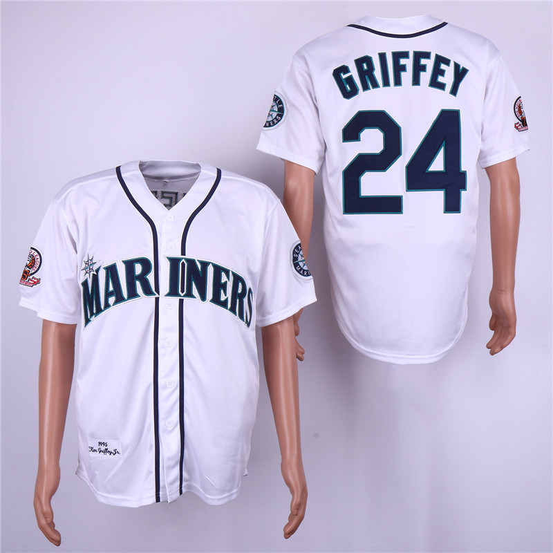 Mariners 24 Ken Griffey Jr. White 1995 Throwback Jersey