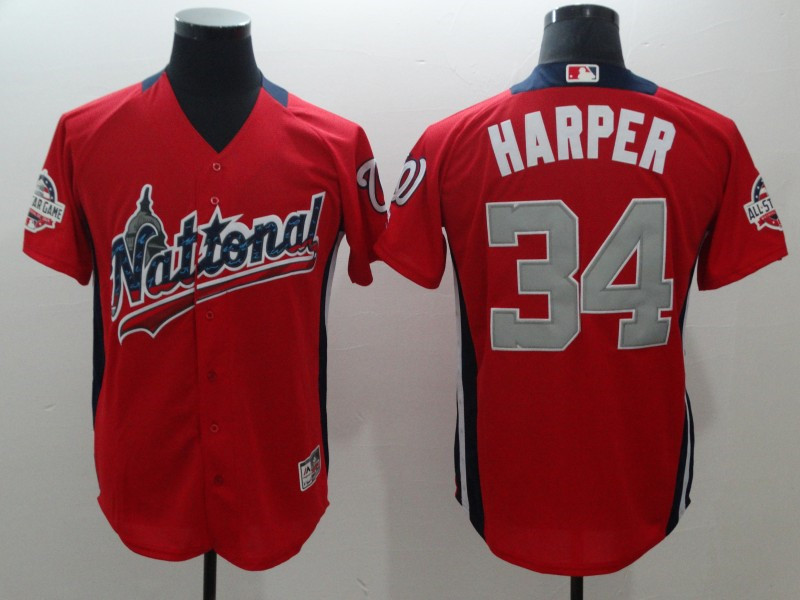 National League 34 Bryce Harper Red 2018 MLB All-Star Game Home Run Derby Jersey