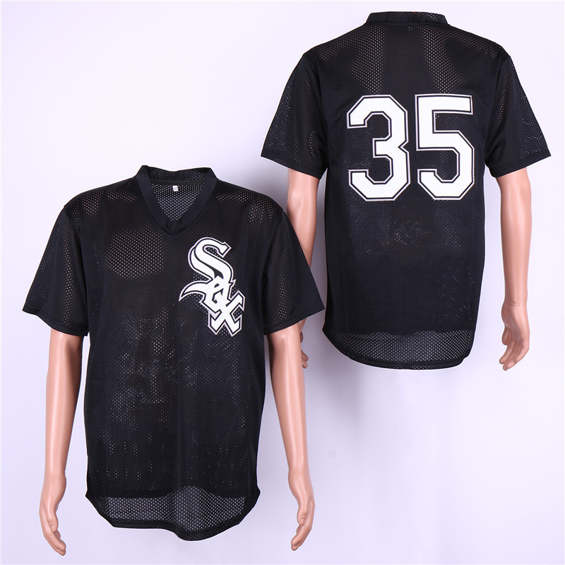 White Sox 35 Frank Thomas Black Mesh Jersey
