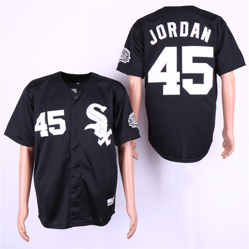 White Sox 45 Michael Jordan Black Cooperstown Collection Jersey