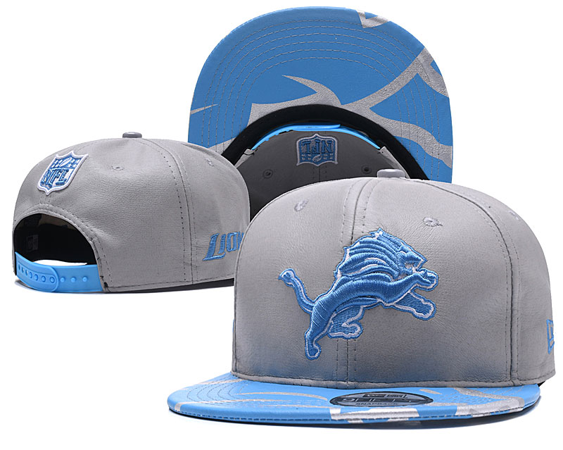 Lions Team Logo Gray Adjustable Hat YD