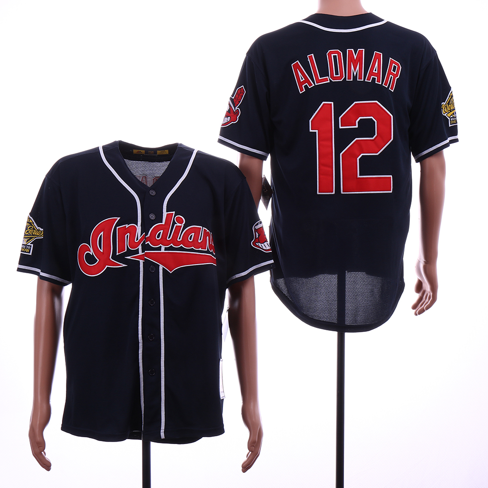 Indians 12 Roberto Alomar Navy Throwback Jersey