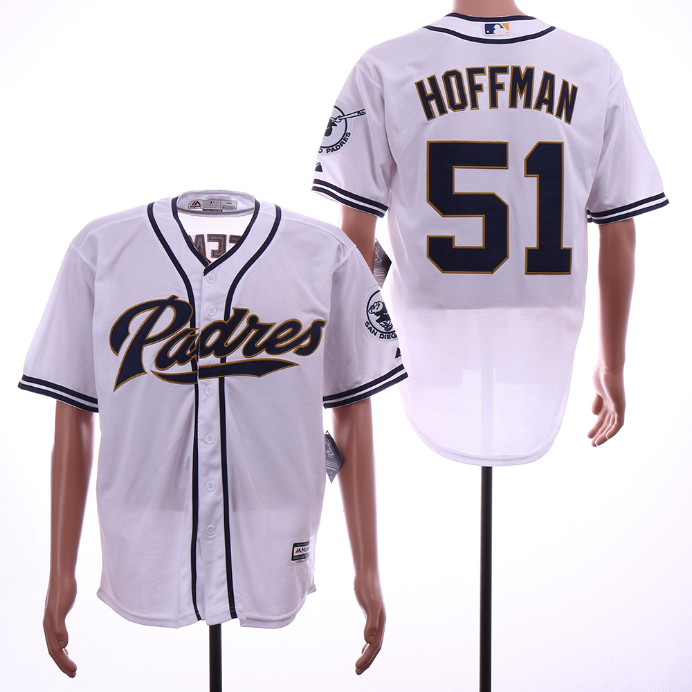 Padres 51 Trevor Hoffman White Cool Base Jersey
