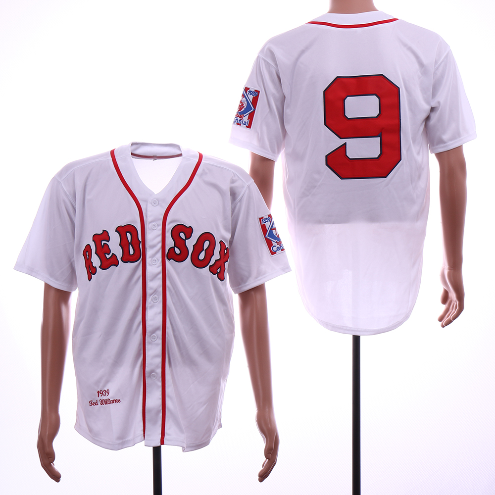 Red Sox 9 Ted Williams White 1939 Throwback Jersey