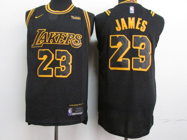 Lakers 23 Lebron James Black Youth City Edition Nike Authentic Jersey