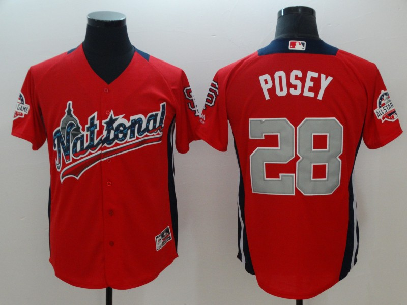 National League 28 Buster Posey Red 2018 MLB All-Star Game Home Run Derby Jersey