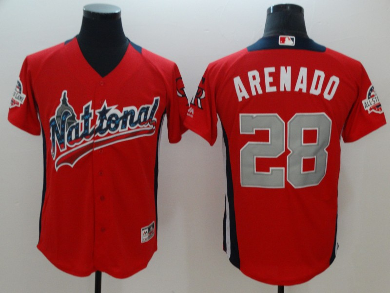 National League 28 Nolan Arenado Red 2018 MLB All-Star Game Home Run Derby Jersey