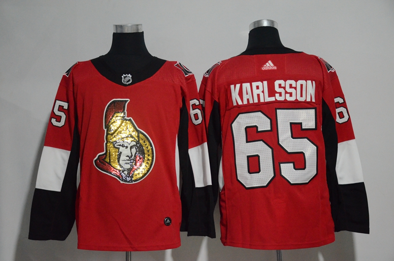 Senators 65 Erik Karlsson Red Glittery Edition Adidas Jersey