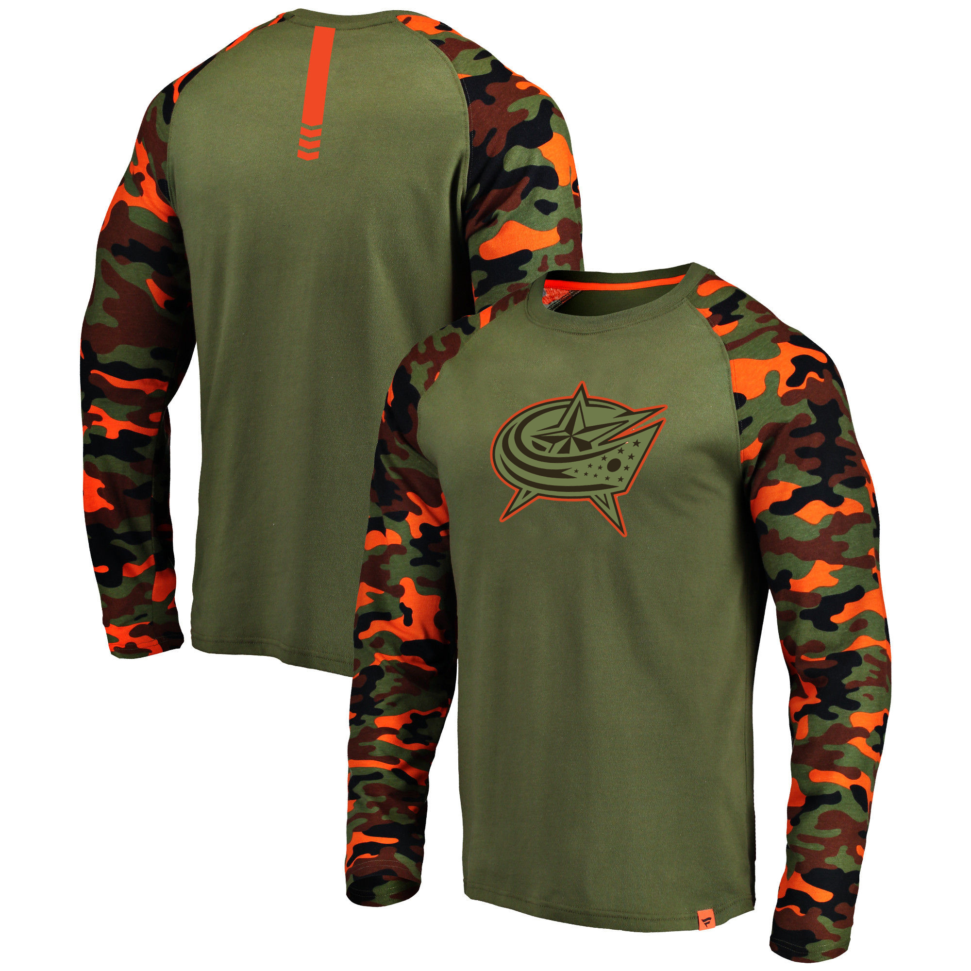 Columbus Blue Jackets Fanatics Branded Olive/Camo Recon Long Sleeve Raglan T-Shirt