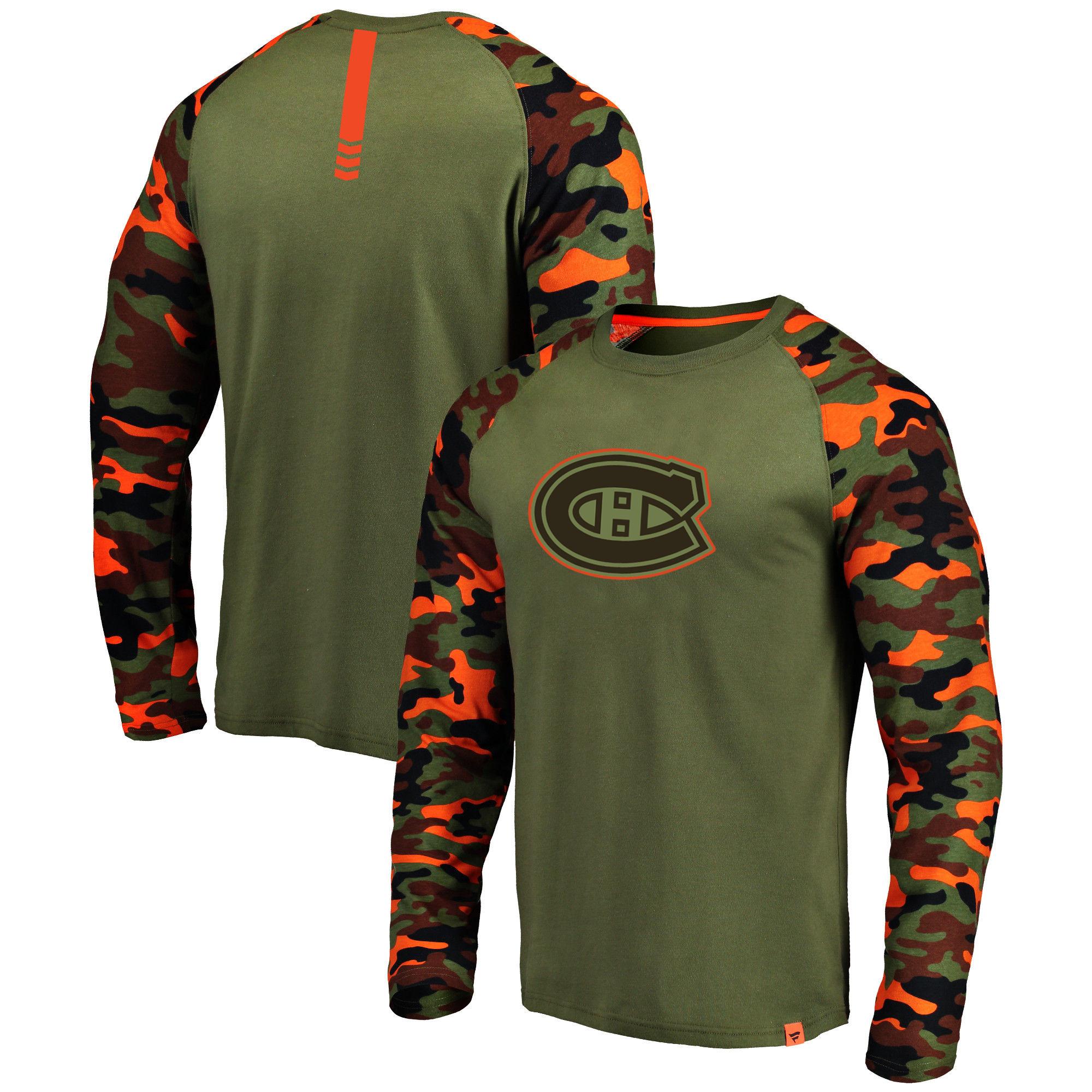 Montreal Canadiens Fanatics Branded Olive/Camo Recon Long Sleeve Raglan T-Shirt