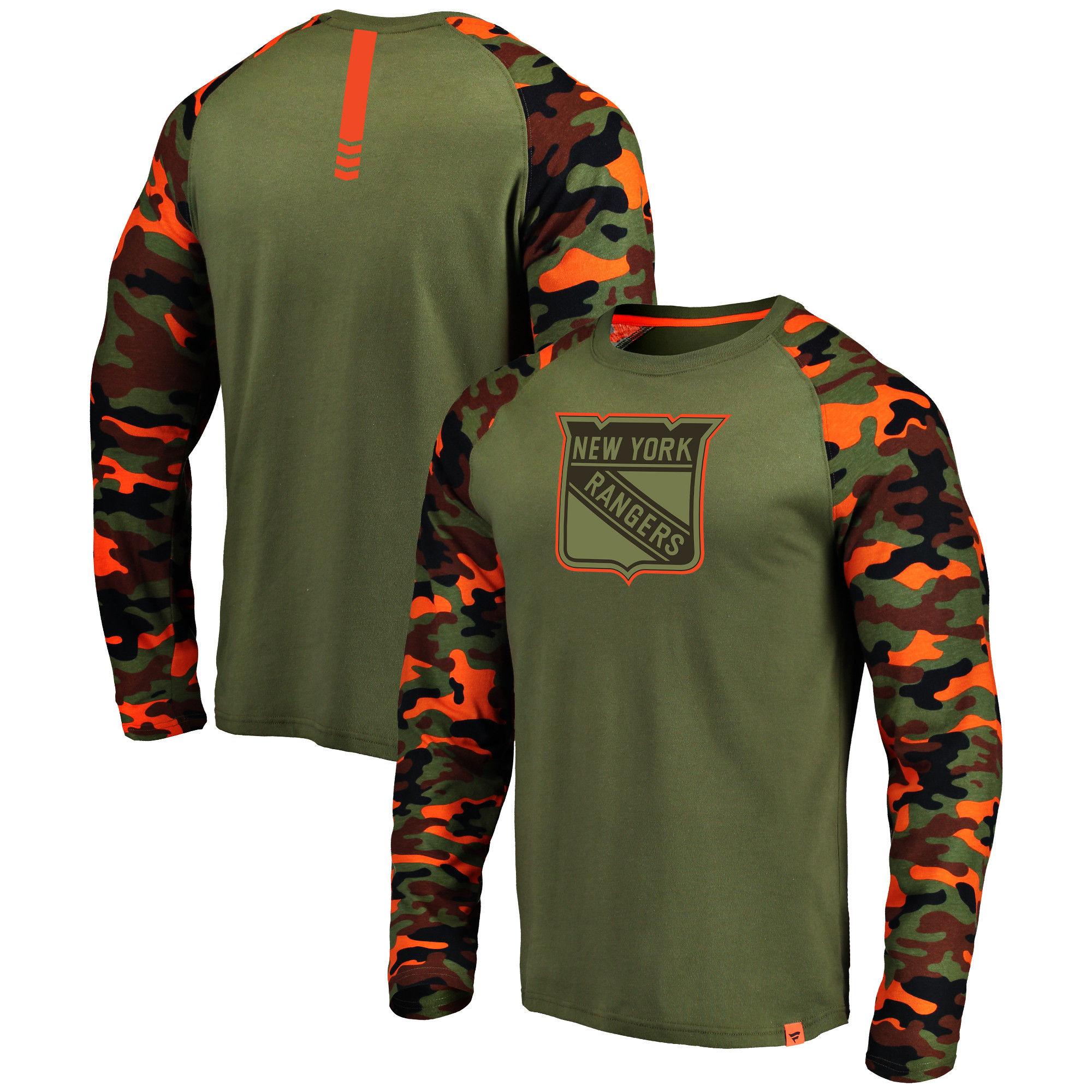 New York Rangers Fanatics Branded Olive/Camo Recon Long Sleeve Raglan T-Shirt