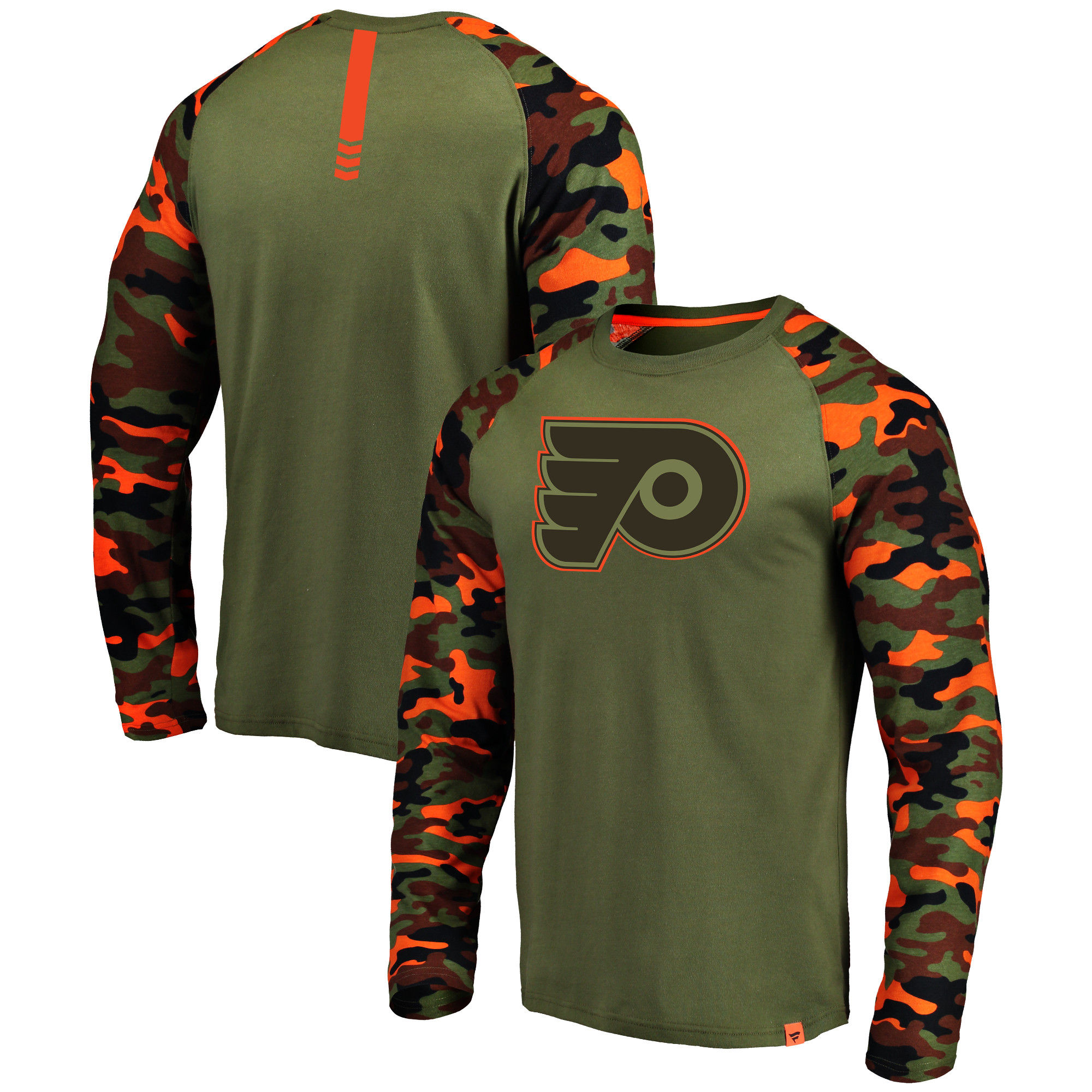 Philadelphia Flyers Fanatics Branded Olive/Camo Recon Long Sleeve Raglan T-Shirt
