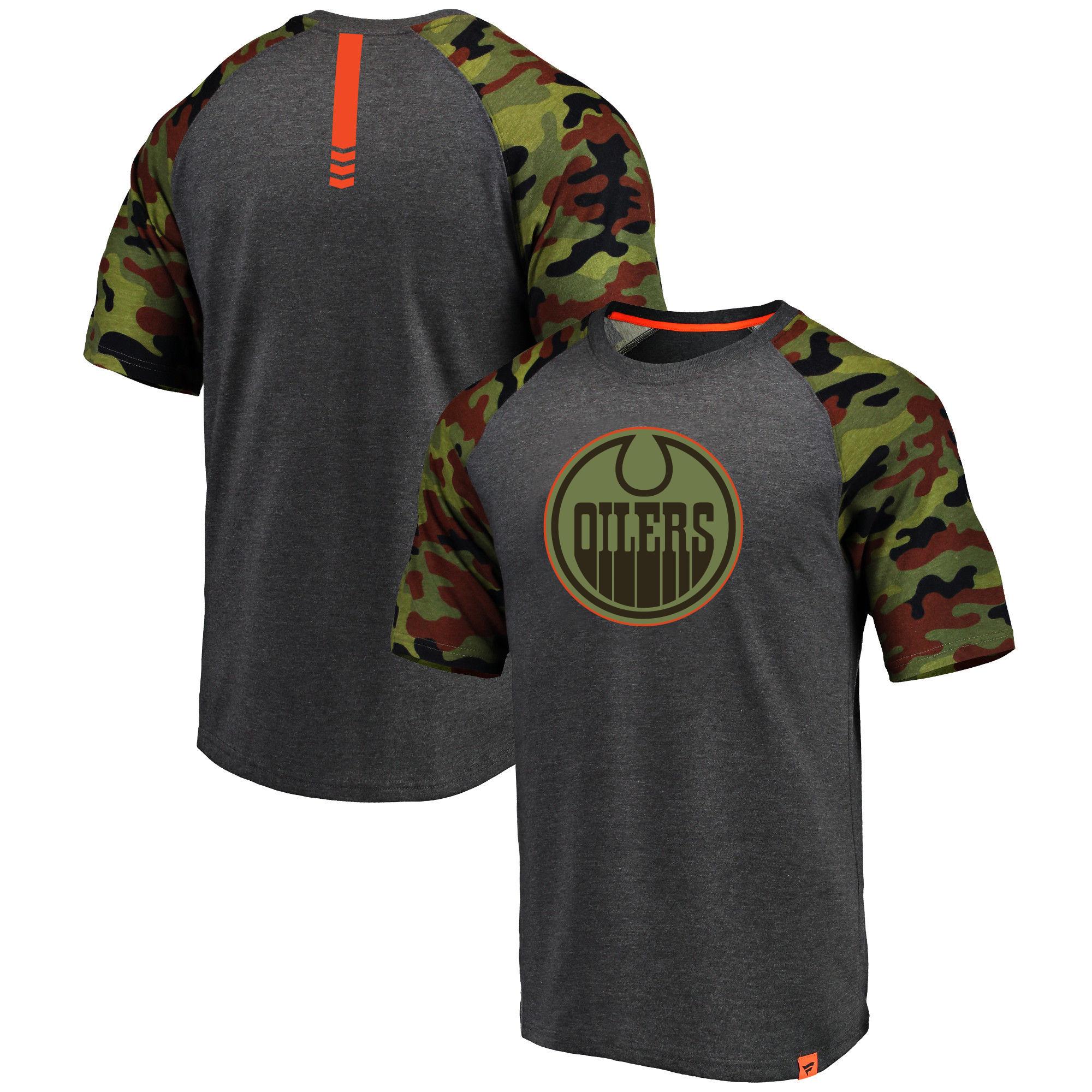 Edmonton Oilers Fanatics Branded Heathered Gray/Camo Recon Camo Raglan T-Shirt