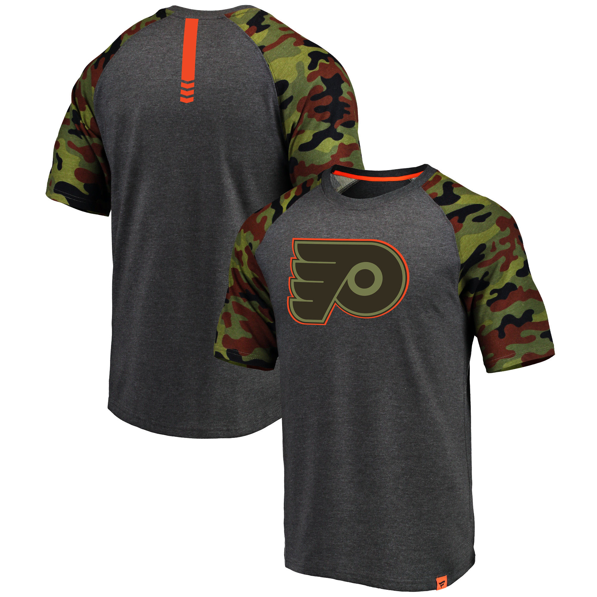 Philadelphia Flyers Fanatics Branded Heathered Gray/Camo Recon Camo Raglan T-Shirt