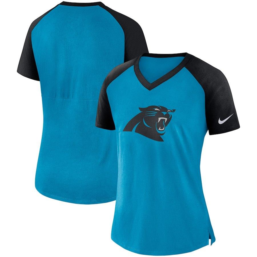 Carolina Panthers Nike Women's Top V Neck T-Shirt Blue/Black
