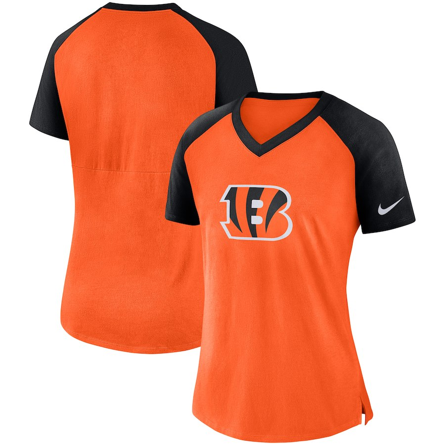 Cincinnati Bengals Nike Women's Top V Neck T-Shirt Orange/Black