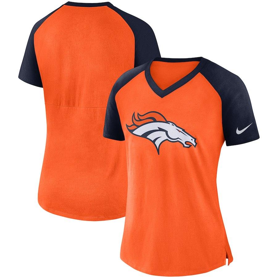 Denver Broncos Nike Women's Top V Neck T-Shirt Orange/Navy