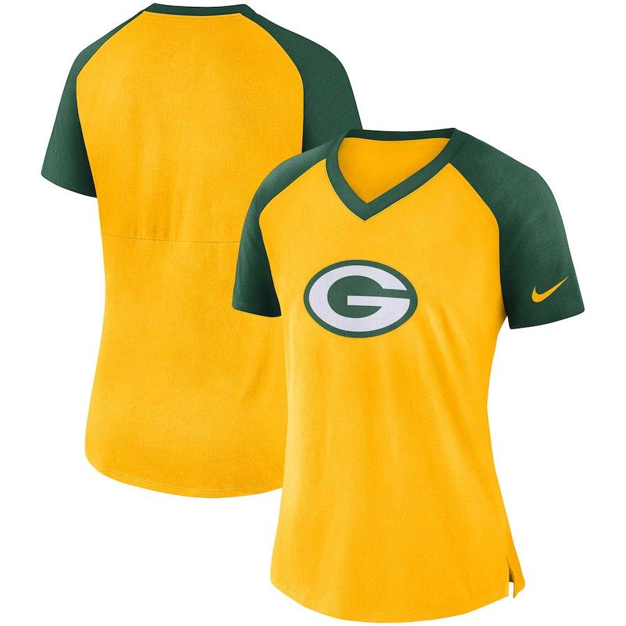 Green Bay Packers Nike Women's Top V Neck T-Shirt Gold/Green