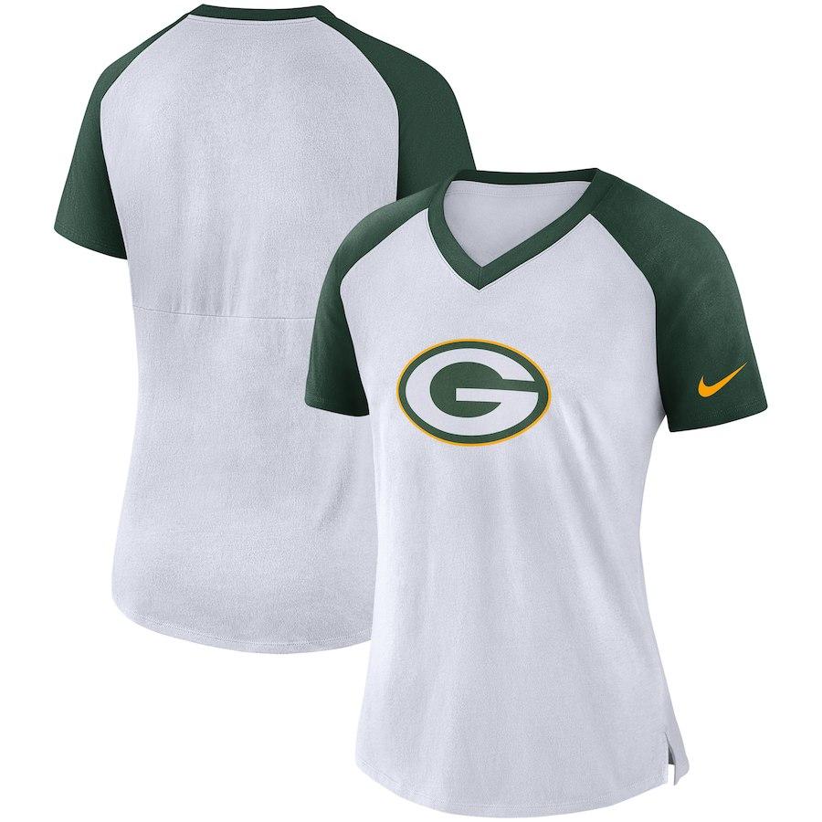 Green Bay Packers Nike Women's Top V Neck T-Shirt White/Green
