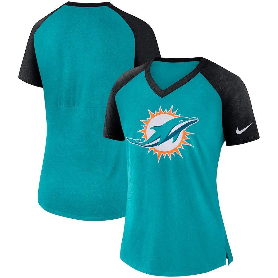 Miami Dolphins Nike Women's Top V Neck T-Shirt Aqua/Black