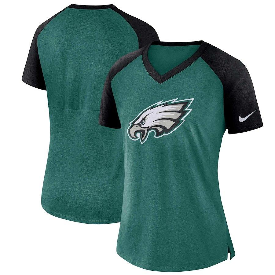 Philadelphia Eagles Nike Women's Top V Neck T-Shirt Midnight GreeBlack