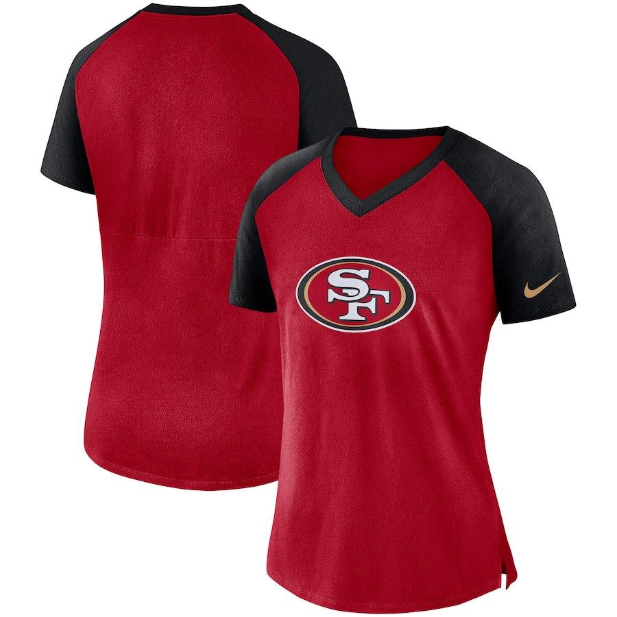 San Francisco 49ers Nike Women's Top V Neck T-Shirt Scarlet/Black