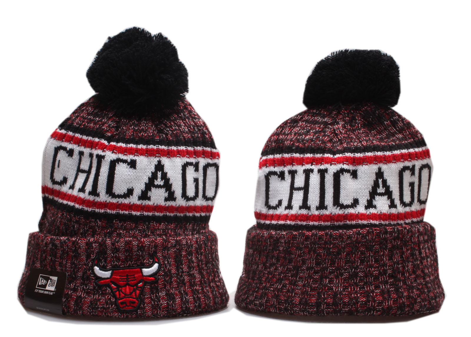 Bulls Team Logo Red Cuffed Pom Knit Hat YP