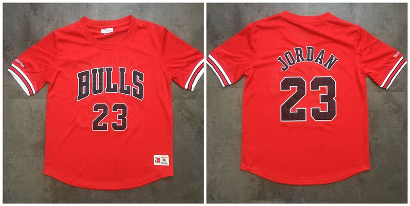 Bulls 23 Michael Jordan Red Short Sleeve Mitchell & Ness Jersey