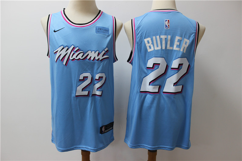 Heat 22 Jimmy Butler Light Bule Nike Swingman Jersey